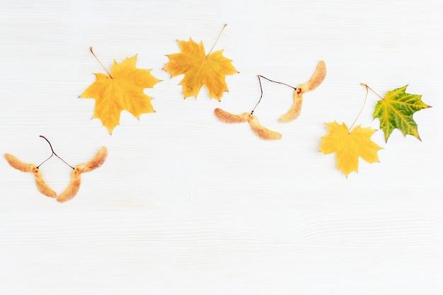Zielnik jesienią, żółte liście klonu i nasiona na powierzchni drewna. jesienna rama na drewnianej teksturze. leżał płasko z miejsca kopiowania.