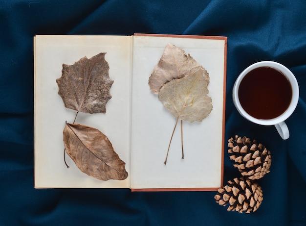 Zielnik z suszonych liści w książce na niebieskim prześcieradle obok białej filiżanki herbaty i szyszek. świąteczny nastrój. widok z góry.