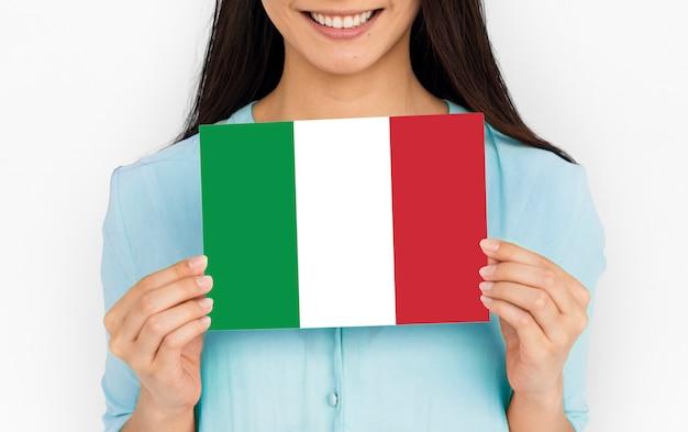 Zielona biała czerwona włoska flaga
