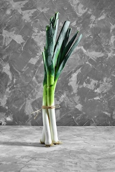 Zielona cebula lub szalotka na szarym betonowym stole