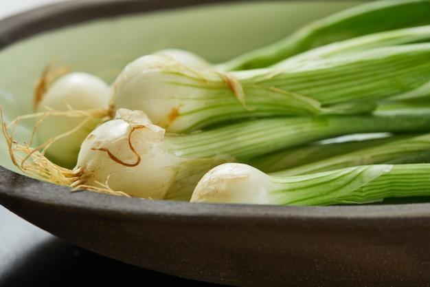 Zielona cebula w talerzu gotowa do gotowania w kuchni