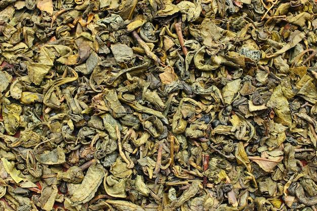 Zielona herbata to sucha tekstura lub tło