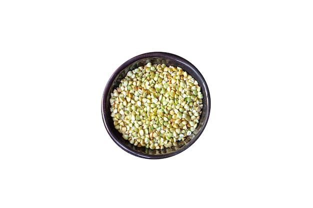 Zielona kasza gryczana pełnowartościowa zdrowa żywność posiłek przekąska wegańskie lub wegetariańskie