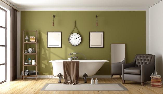 Zielona klasyczna łazienka