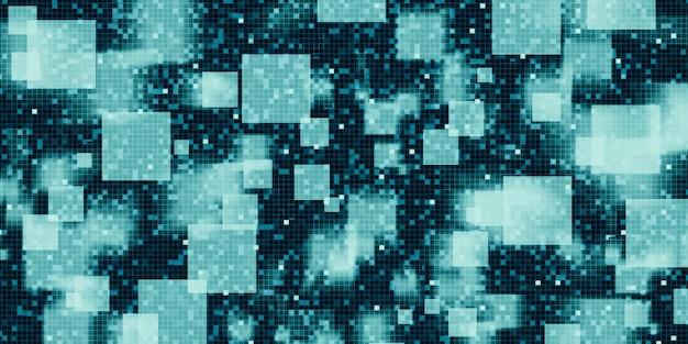 Zielona kwadratowa mozaika, mozaika podzielona wysokiego poziomu niskiego poziom ruchu koncepcji technologii niewyraźne streszczenie 3d ilustracji