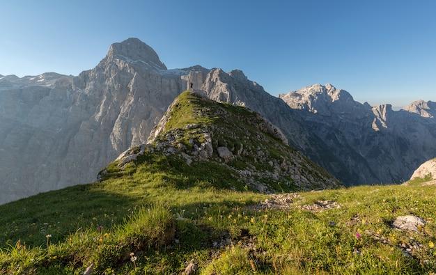 Zielona kwiecista góra pod niebieskim niebem przy dniem