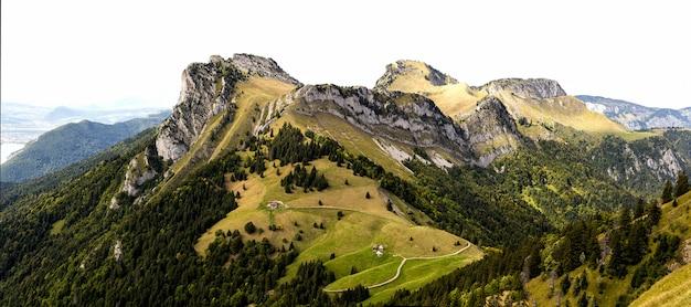 Zielona łąka z dużymi górami