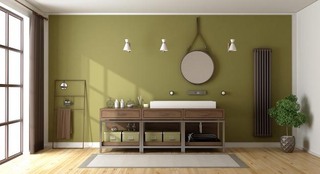 Zielona łazienka z umywalką