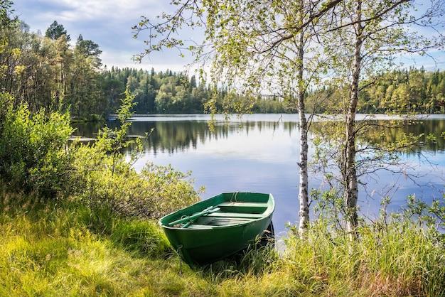 Zielona łódka wśród zielonej trawy na brzegu jeziora