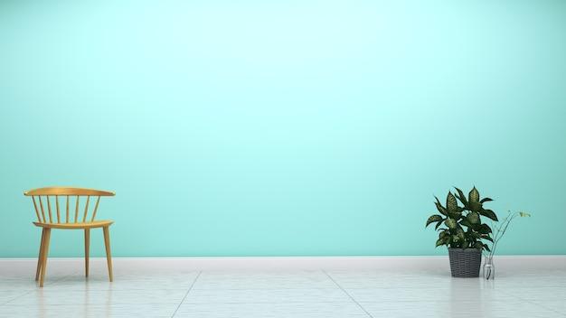 Zielona mennicy ściana na pustym białym podłogowym wnętrzu. 3d rendering