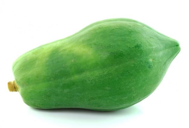 Zielona papaja - tykwa na białym tle