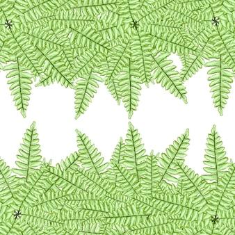 Zielona paproć akwarela farby świeże wiosenne tło natury