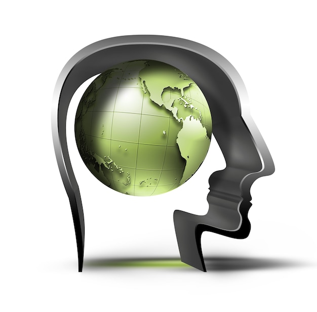 Zielona planeta w sylwetce głowy