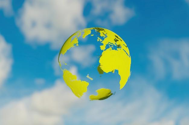 Zielona przezroczysta planeta ziemia z niewyraźne tło pochmurnego nieba. koncepcja środowiska. renderowanie 3d