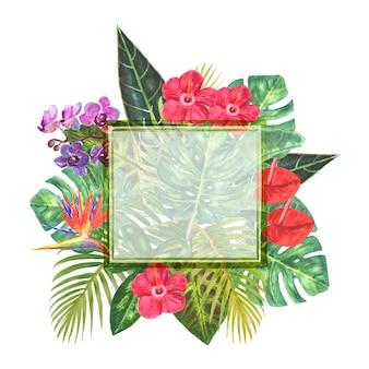 Zielona ramka z egzotycznym bukietem z jasnymi tropikalnymi kwiatami, zielonymi liśćmi, gałęziami na białym tle. akwarela ręcznie rysowane naturalne botaniczne klasyczna ilustracja. miejsce na tekst.