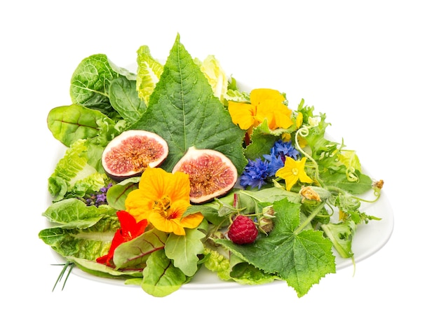 Zielona sałata z figami i jadalnymi kwiatami ogrodowymi. zdrowe jedzenie