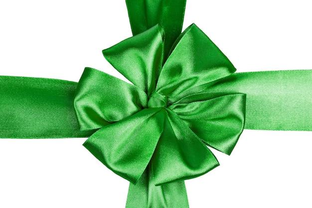 Zielona satynowa wstążka z kokardką