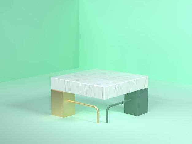 Zielona scena renderowania 3d streszczenie złoty biały marmur pusty kwadratowy kształt