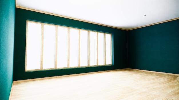 Zielona ściana na drewnianym podłogowym wnętrzu. renderowanie 3d