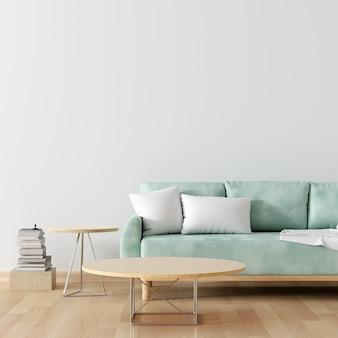 Zielona sofa w białym salonie z pustym stołem do makiety