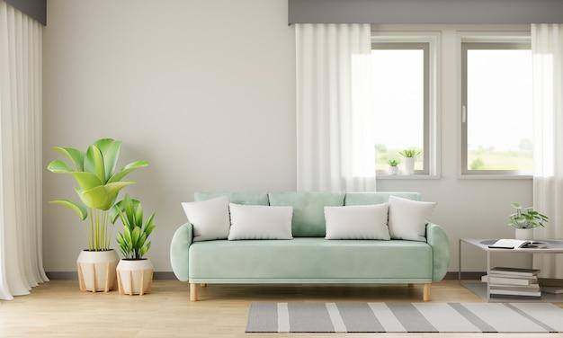 Zielona sofa we wnętrzu salonu z miejscem na kopię