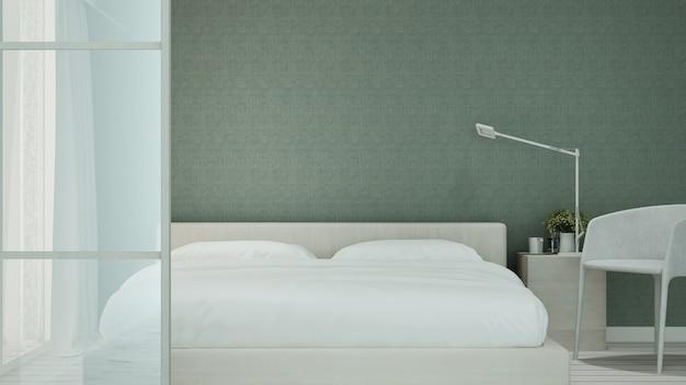 Zielona sypialnia i salon w hotelu