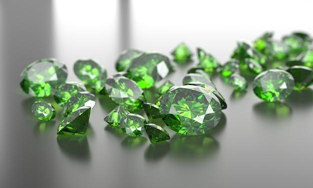 Zielona szmaragdowa diament grupa w ciemnym tle, 3d ilustracja.