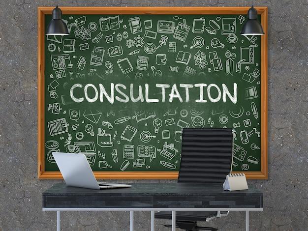 Zielona tablica z tekstem konsultacji wisi na ciemnej starej betonowej ścianie we wnętrzu nowoczesnego biura.