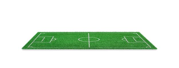 Zielona trawa boisko na białym tle. boisko do gry sportowej