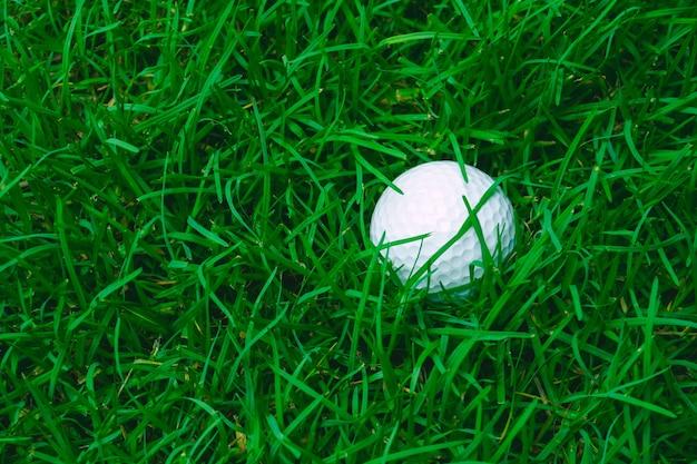 Zielona trawa z bliska piłeczki golfowej w nieostrości w świetle słonecznym. sportowy plac zabaw dla koncepcji klubu golfowego