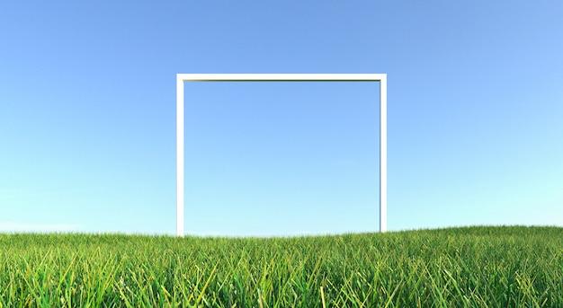 Zielona trawa z ramą i niebieskiego nieba tłem