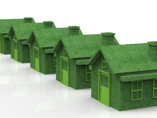 Zielona wioska z ekologicznym domem w rzędzie