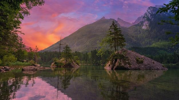 Zielone drzewa w pobliżu jeziora i góry podczas zachodu słońca