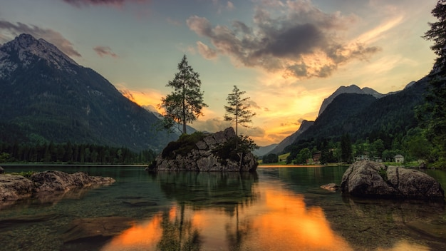 Zielone drzewa w pobliżu jeziora pod zachmurzonym niebem w ciągu dnia