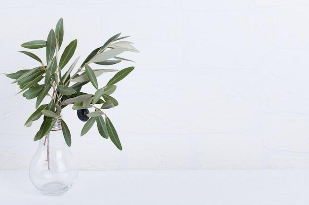 Zielone gałązki oliwne w szklanej wazie na białym copyspace na ścianie z cegły.