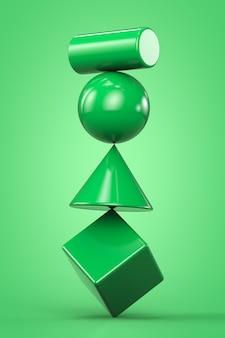 Zielone geometryczne kształty niestabilna konstrukcja na zielonym tle