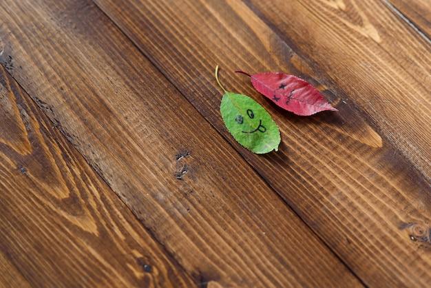 Zielone i czerwone opadłe liście z symbolami szczęśliwych i smutnych twarzy