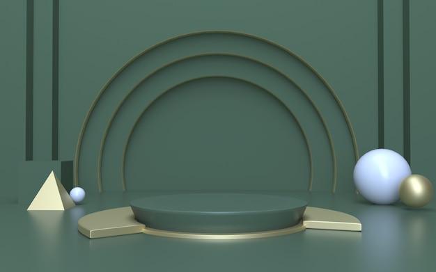 Zielone i złote tło wyświetlacza produktu podium