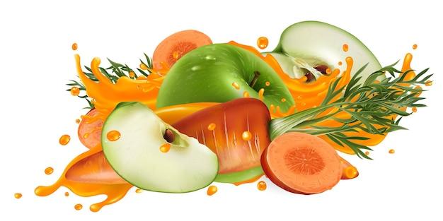 Zielone jabłka i marchewki w plusku soku warzywnego na białym tle
