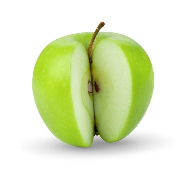 Zielone jabłko na białym backgrond