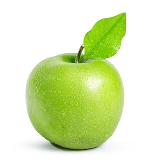 Zielone jabłko, na białym tle