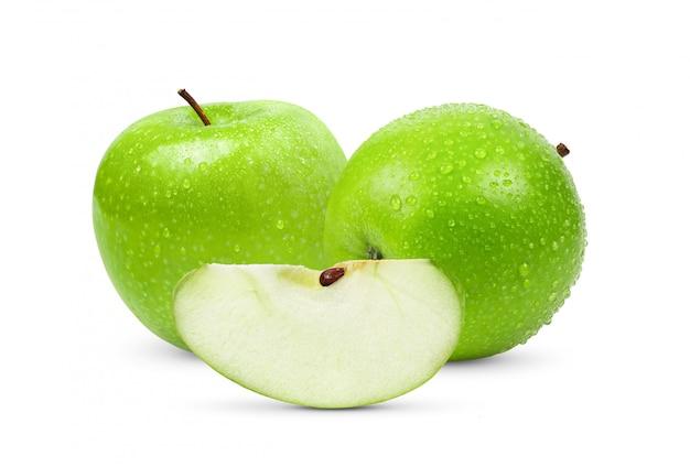 Zielone jabłko na białym tle