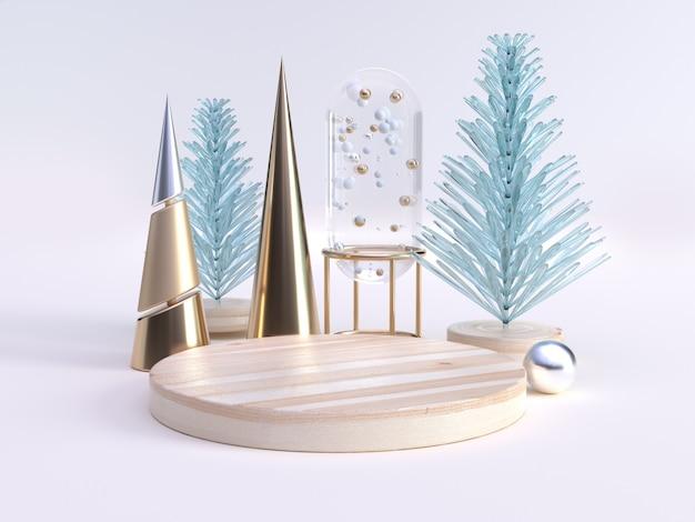 Zielone jasne abstrakcyjne drzewo złota stożek dekoracji zima nowy rok koncepcja renderowania 3d puste koło drewna