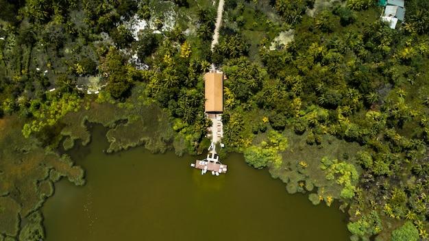 Zielone jezioro pośrodku wyspy otoczonej drzewami i domem na malediwach