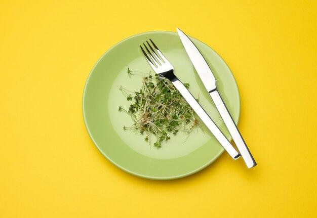 Zielone kiełki chia, rukola i musztarda w zielonym okrągłym talerzu, widok z góry. zdrowy suplement diety zawierający witaminy c, e i k widok z góry