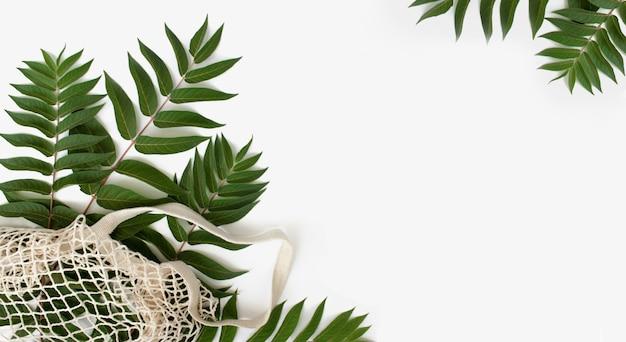 Zielone liście z torbą na zakupy wielokrotnego użytku na białym tle koncepcja zero odpadów z miejscem na kopię