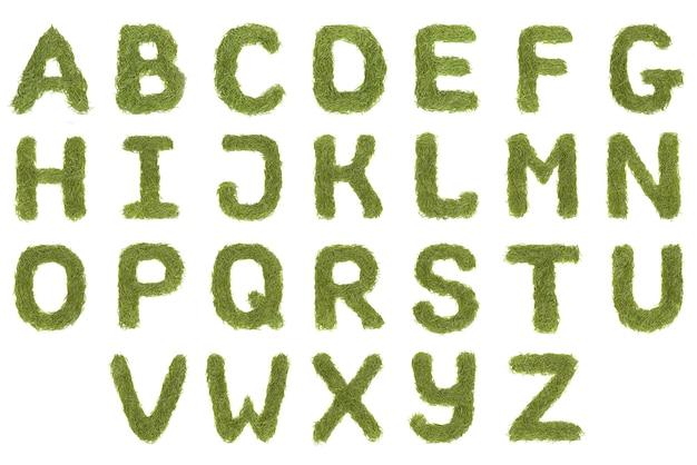 Zielone litery alfabetu az czcionki na białym tle. wysoka rozdzielczość