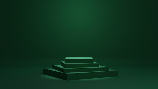 Zielone minimalne podium renderowania 3d tło