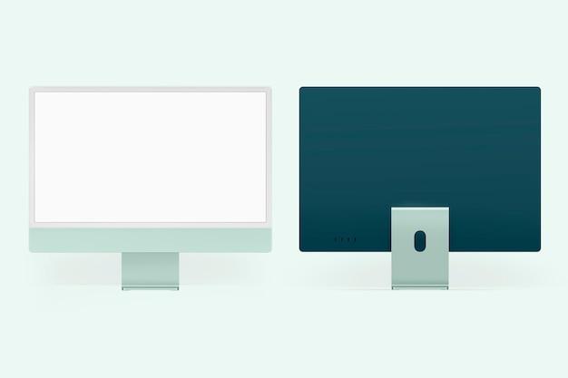 Zielone minimalne urządzenie cyfrowe z ekranem komputera stacjonarnego z przestrzenią projektową