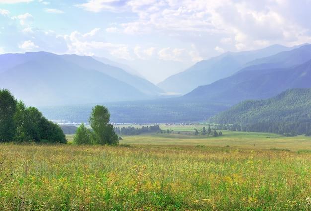 Zielone pastwiska na tle gór w porannej mgle pod błękitnym pochmurnym niebem. ałtaj, syberia, rosja